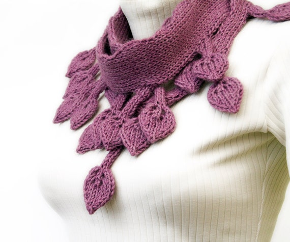 Knitted Leaf Scarf in lavender, romantic double sided leaves, long warm scarf