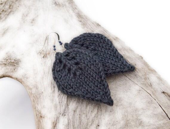 Gray knit Leaf Earrings, dark grey charcoal leaves, handmade beaded knit fashion jewelry