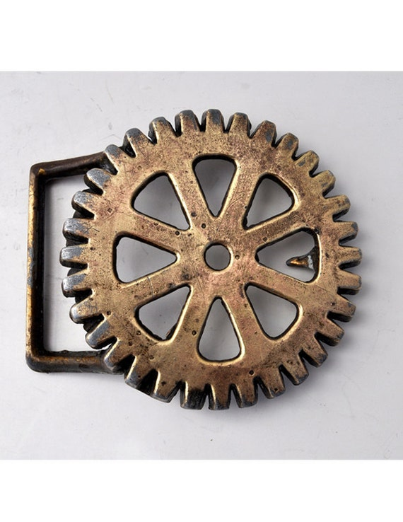 Industrial Gear ROTARY CLUB Vintage 1970s Belt Buckle - Collectible Nostalgia - Steampunk
