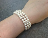 Pearl bridal bracelet, multi strand, three strand wedding cuff, Swarovski crystal - Esme