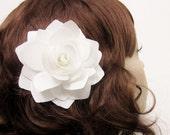 White rose bridal hair flower, wedding hair clip, off white gardenia, satin fabric, bridal accessory - Arabella