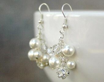 Pearl cluster bridal earrings, chandelier wedding earrings with Swarovski crystals pearls & fireballs, wedding jewelry - Cascade