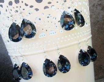 Bridesmaid jewelry set, navy blue crystal earrings, genuine Swarovski crystals, sterling silver - AB40