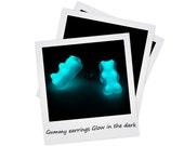Gummy Bear Earrings Glow in the dark Aqua Aquamarine gummi bear jewellery