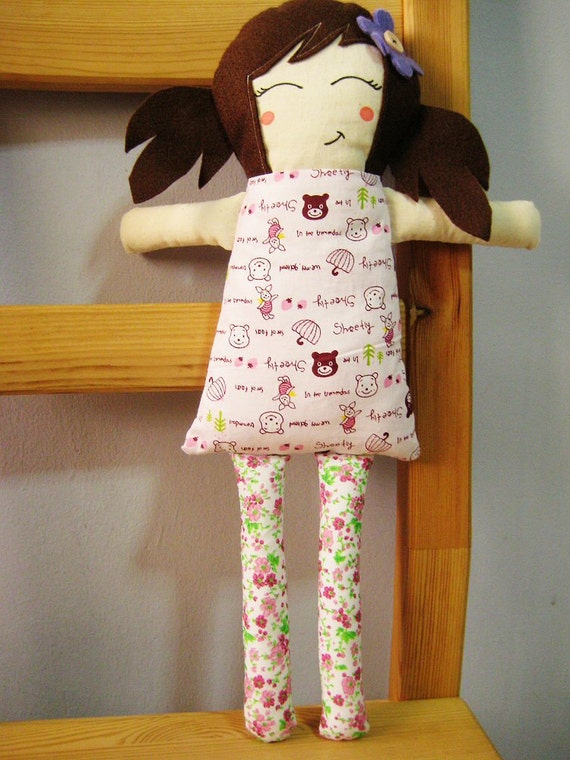 Handmade Traditional Fabric Doll Cuddly Woodland Animals Pink