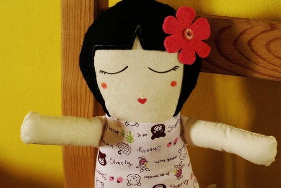 Handmade rag doll traditional fabric doll pink bear and piggie fabric floral kawaii