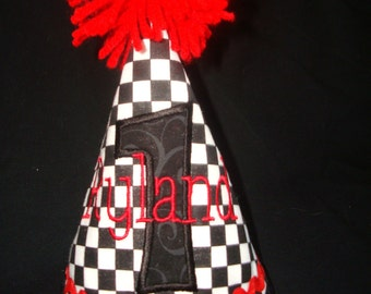 PERSONALIZED BOY'S 1st Birthday Hat - 2nd Birthday Hat- 3rd Birthday Hat-Party Hat -Race Car Birthday-Checkered Flag in Black, White and Red