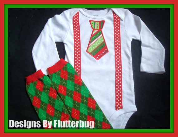 BOYS CHRISTMAS Bodysuit and Leg Warmers Set - Red and Green Appliqued Tie with Faux Suspenders