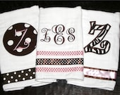 Set of 3 Personalized Ribbon Burp Cloths - Pink  and Brown
