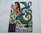 Completed Prairie Schooler Alphabet Letters Cross Stitch  - M - Is For Mermaid