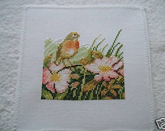 Completed Marjolein Bastin Cross Stitch Picture -Bird, Spring Bird, Robin and Wild Flowers, Wild Roses