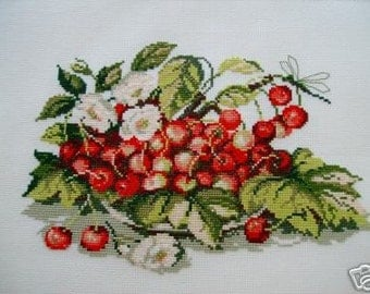 COMPLETED CROSS STITCH CHERRIES AND ROSES
