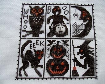 Completed Finished Prairie Schooler Halloween Cross Stitch Sampler - SWEEPING COBWEBS, Halloween Pumpkins, Owl, Black Cat, Witch Sampler