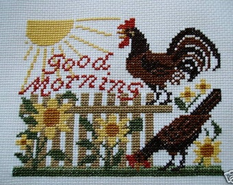 Completed Prairie Schooler Cross Stitch -- Good Moring