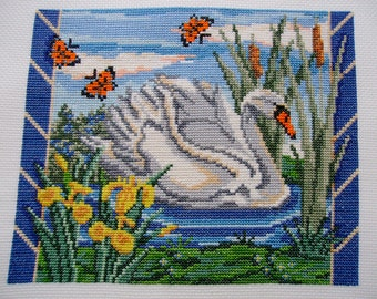 Completed Cross Stitch - Swan Lake