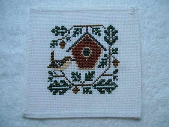 Completed Prairie Schooler Cross Stitch Bird - Wren