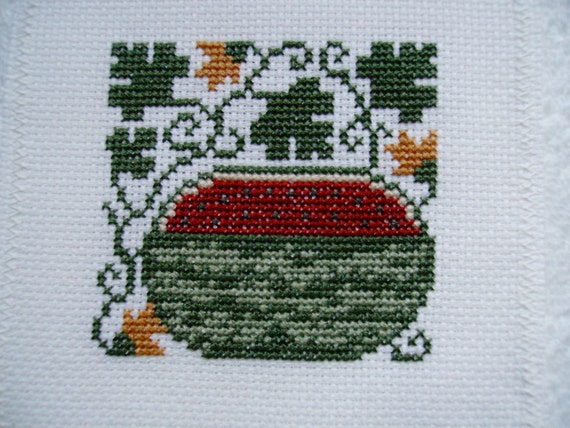 Completed Prairie Schooler Cross Stitch - Watermelon