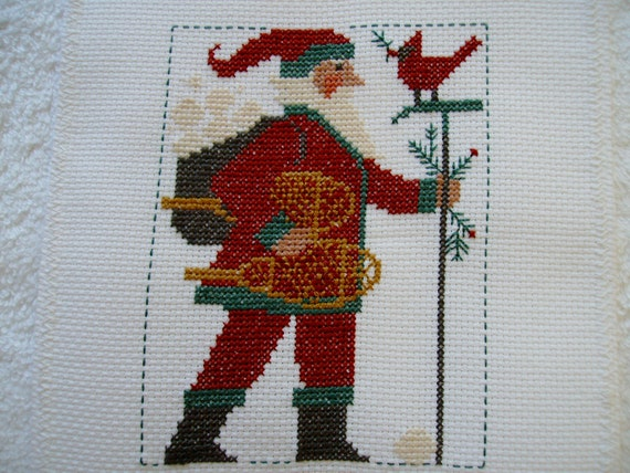 Completed Christmas  Prairie Schooler Cross Stitch Santa