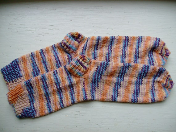 Hand Knit Extra Soft And Warm  Women's  Socks, Size  9 - 9.5  (10 inches length) - Gorgeous Mix