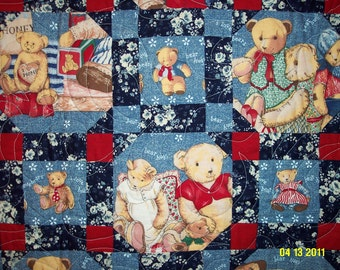 Teddy Bear Picnic Baby Quilt - Navy, Red, and Blue