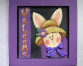 Spring Time Bunny, Welcome Sign with Bunny, Tole Painted and Framed in Purple, Hand Painted on Black Screen Framed in Reclaimed Wood Frame