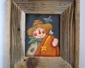 Rustic Barn Wood Framed Tole Painted Scarecrow with Pumpkin