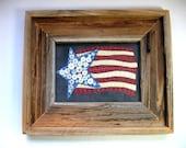 Patriotic, USA, Grand Olde Flag, Framed in Barnwood, Primitive