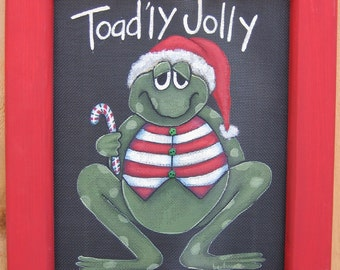 Tole Painting Pattern, Toad'ly Jolly Sign, Christmas, DIY, Instructional Painting Pattern, Christmas Toad or Frog, Striped Candy Cane