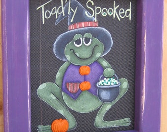 Tole Painting Pattern, Toad'ly Spooked Halloween Toad or Frog, Spooky GreenToad or Frog, Instructional Pattern, Acrylic Paint on BlackScreen