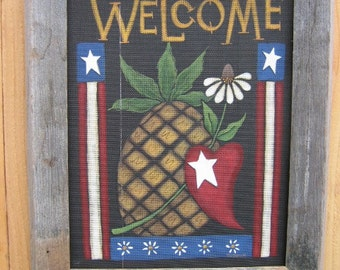Americana Welcome with Pineapple and Heart, Tole Painting Pattern,Golden Pineapple, Red Heart, Patriotic Design White Daises, Americana Art
