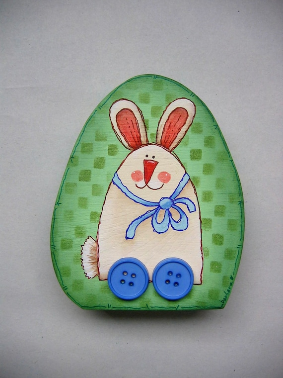 Whimsical Spring Bunny Decoration, Bunny On Wheels, Hand Painted, Egg Shape Wood Shelf Sitter, Spring Decoration, Folk Art Bunny