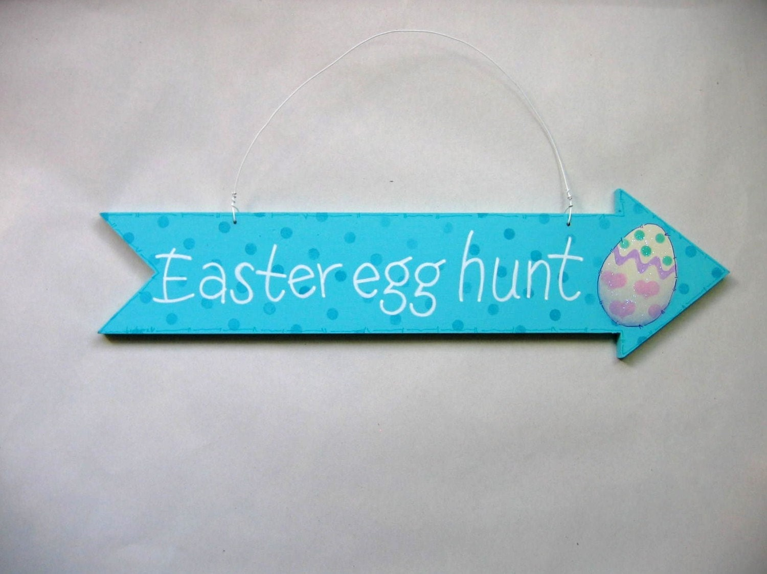Easter Egg Hunt Sign Blue Arrow Tole Painted