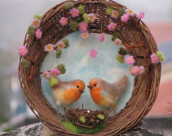 Needle felted couple of robin's under blooming cherry branch