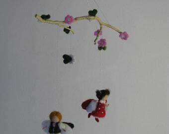 waldorf inspired needle felted mobile Firefly and ladybird