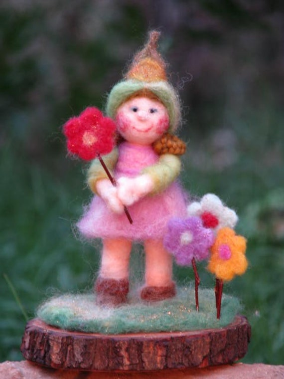 SALE......Elf planting flowers, needle felted, home decor