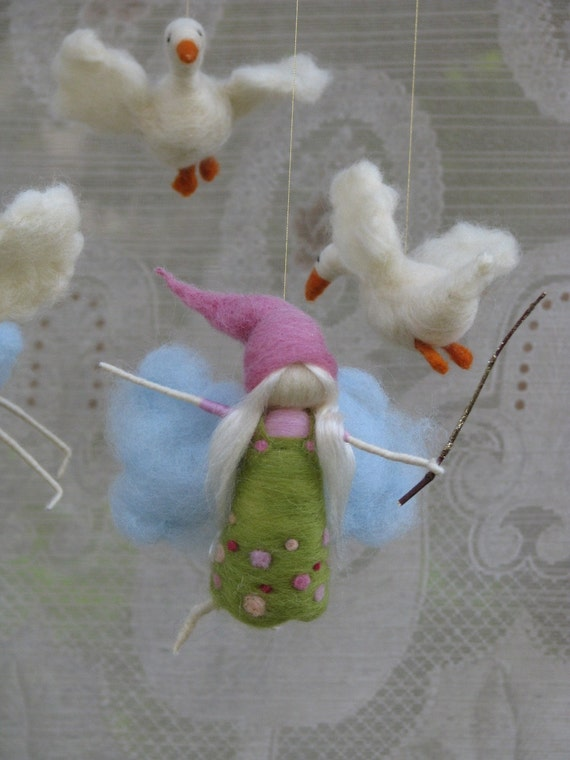 needle felted mobile, fairies flying after geese