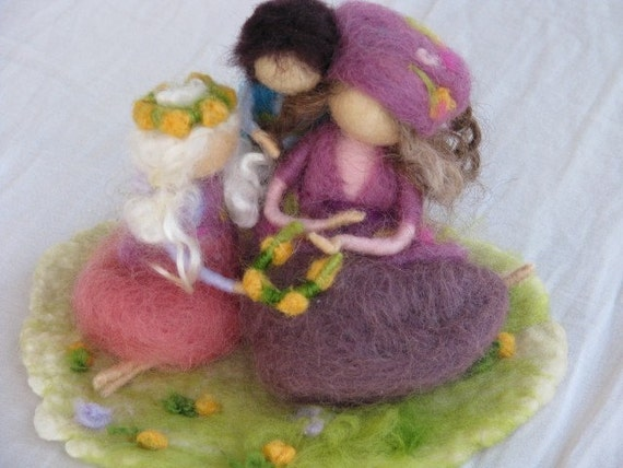 Needle felted mother with children, spring decoration, waldorf inspired