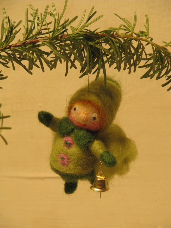 Christmas elf green needle felted ornament