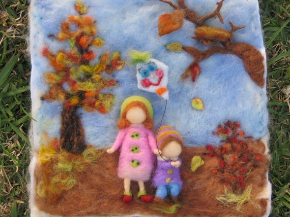 Needle felted tapestry, Winter time, waldorf inspired
