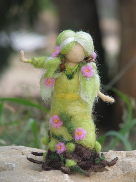 Needle felted Spring maiden waldorf inspired