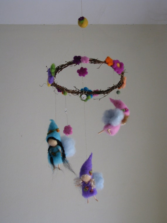 Needle felted spring fairies mobile waldorf inspired