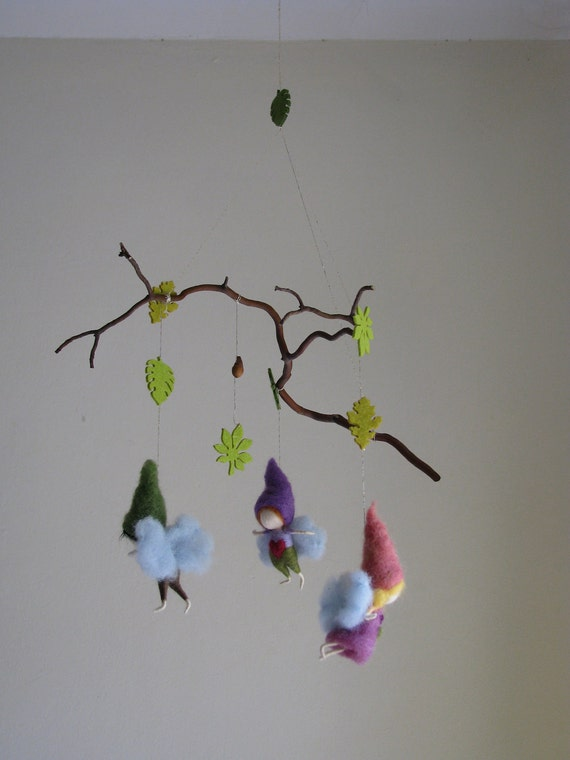 Needle felted forest mobile waldorf inspired