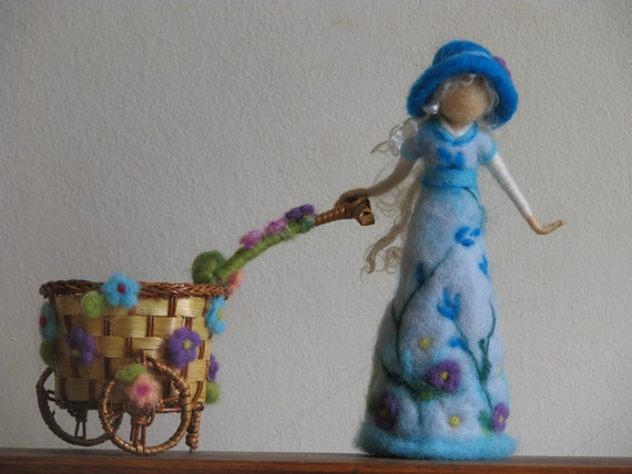 Flower doll with cart, needle felted home decoration