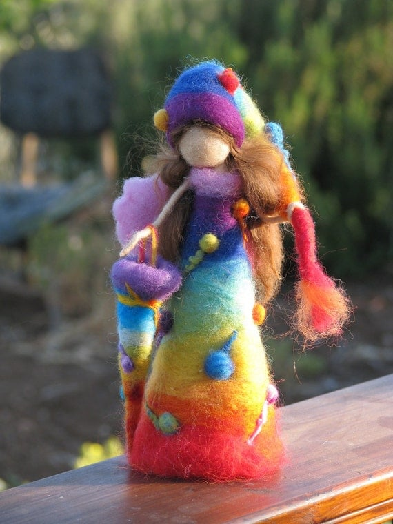 Needle felted rainbow waldorf inspired fairy