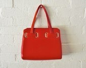 Vintage 1960s RED & GOLD Handbag