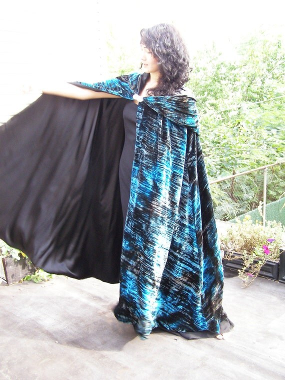 25% OFF Lady of the Lake Lined Cape with Hood, Victorian/Goth Velvet Cloak