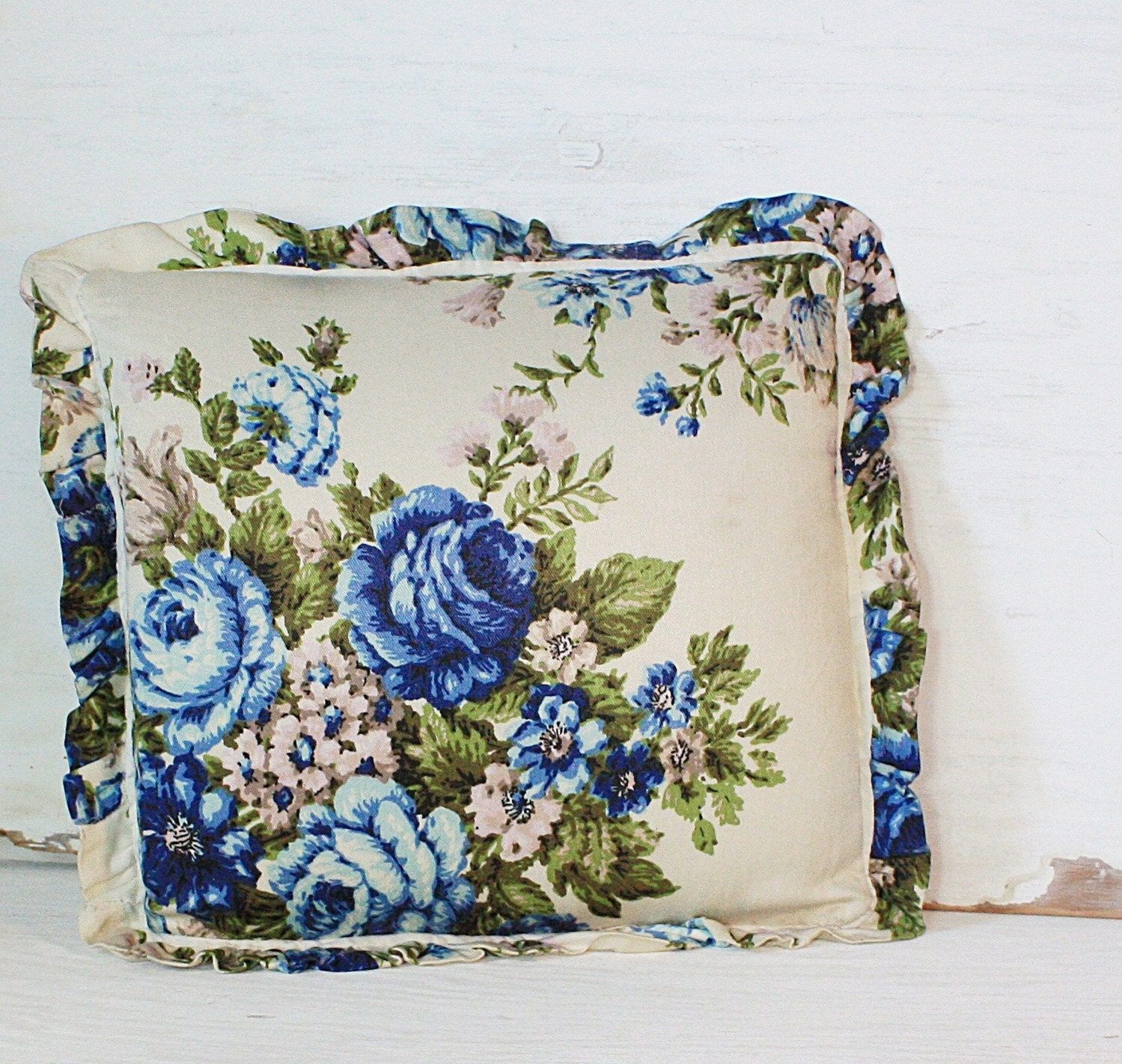 Vintage Blue Throw Pillows : Vintage Blue and Green Floral Throw Pillow