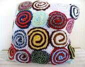 spiral texture crochet pillow