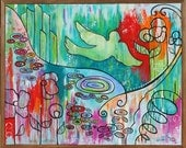 Journey to Oz Abstract Bird Colorful Art Painting Spring Floral green red blue