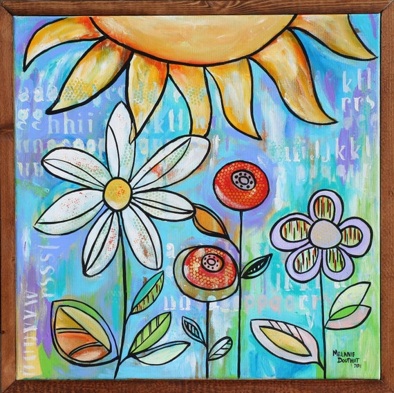 SALE Spring Flowers painting Art Country floral Sunshine blue yellow purple